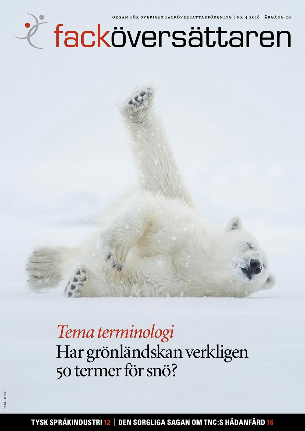 Forside til oversættertidsskriftet Facköversättaren-4-2018 med en isbjørn i et snedækket landskab, som ruller sig i sneen.